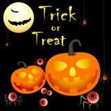 Treak или обслуживание хеллоуина с тыквами, летучими мышами, пауками, текстом Стоковая Фотография RF
