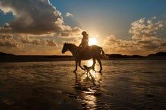 Trearddur Bay beach at sunset Royalty Free Stock Photography