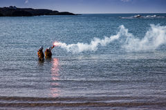 Trearddur Bay Lifeboat crew Stock Image