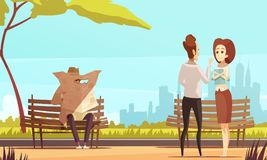 Treason Spy Doodle Composition. Spy composition with view of urban city park and people characters with private detective tracing a couple vector illustration Royalty Free Stock Image