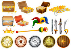 Treassure chest and weapons Royalty Free Stock Photo