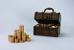 Treasure. Little chest filled with small, copper coins Royalty Free Stock Photos