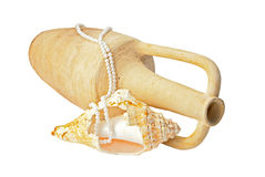 Treasure. Ancient amphora, tropical sea shell and pearls over white stock photography