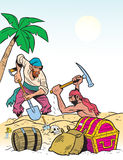 Treasure. Two men pirates found on the banks of the treasure.They dig up the chests.Illustration done in cartoon style Royalty Free Stock Photography