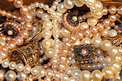 Treasure. Lots of pearls and other women's jewelry Stock Image