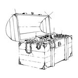 Treasure. Box with gold and diamonds stock illustration