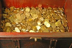 Treasure!. Reddish-brown leather and wood treasure chest with gold (10 euro cent) coins inside royalty free stock images
