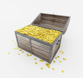 Treasure. Complete chest of treasures, gold coins Royalty Free Stock Photo