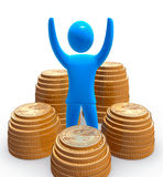 Treasure. Blue figure among piles of golden dollar coins. Concept of saving and controlling money Stock Photos