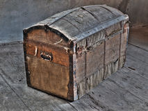 Treasure ark. Retro look of ancient wooden box like pirate treasure ark.HDR image Royalty Free Stock Image