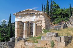 Treasure of the Athenians at Delphi oracle archaeological site Royalty Free Stock Photo