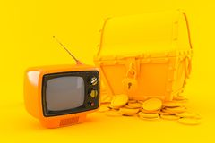 Treasure background with tv Royalty Free Stock Photos