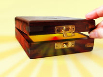 Treasure box. Box and rays composition royalty free stock images