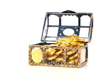 Treasure Box. A treasure box with gold isolated on white Royalty Free Stock Images
