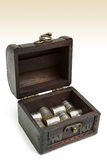 Treasure box. Old open treasure box with silver coins Royalty Free Stock Images