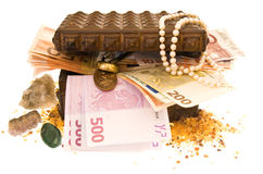 Treasure-box 2. Wooden treasure-box filled with money, jewels and gold Stock Image