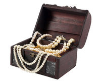 Treasure box. Pearl Necklace in the treasure box isolated on white background stock photos