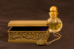 Treasure box. With amulet and perfume Royalty Free Stock Image