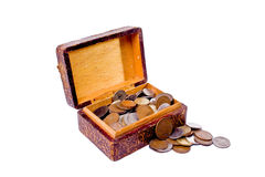 Treasure box. An antique box filled with assorted coins Royalty Free Stock Photo