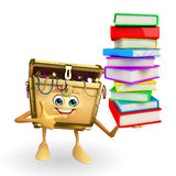 Treasure box character with Books pile Stock Photos