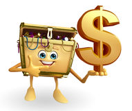 Treasure box character with dollar sign Stock Image
