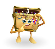 Treasure box character with gold medal Stock Photos