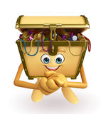 Treasure box character with happy pose Royalty Free Stock Images