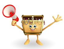 Treasure box character with Loudspeaker Stock Images