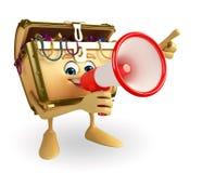 Treasure box character with Loudspeaker Stock Images