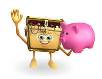 Treasure box character with piggy bank Stock Photography
