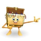 Treasure box character is pointing Stock Photos