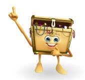 Treasure box character is pointing Royalty Free Stock Photos