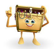 Treasure box character is pointing Royalty Free Stock Images