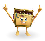 Treasure box character is pointing Stock Image