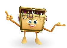 Treasure box character is pointing Royalty Free Stock Photo