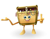 Treasure box character is pointing Stock Photography
