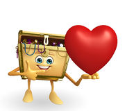 Treasure box character with red heart Stock Image
