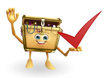 Treasure box character with right sign Royalty Free Stock Photo