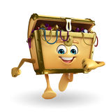 Treasure box character is running Royalty Free Stock Photo