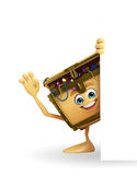 Treasure box character with sign Stock Photography