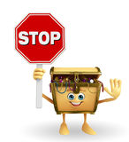 Treasure box character with stop sign Stock Photos