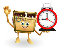Treasure box character with table clock Stock Photography