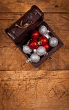 Treasure box with Christmas globes Royalty Free Stock Photos