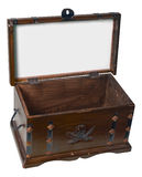 Treasure Box-Clipping Path. Small open wooden treasure chest with sign panel in lid Stock Image