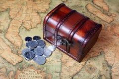 Treasure box and coins Royalty Free Stock Photo