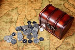 Treasure box and coins Stock Image