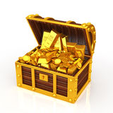 Treasure box. Gold coin and Gold nugget is packed with treasure chest Stock Images