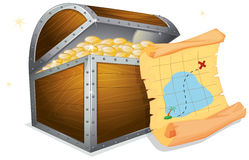 Treasure Box. Illustration of a treasure box and a map Royalty Free Stock Images