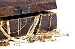 Treasure box with old jewelry (macro view) Royalty Free Stock Images
