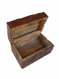 Treasure box open. Old wooden treasure box open, white background Royalty Free Stock Photography